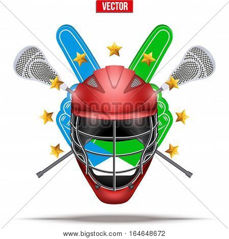 Label of Lacrosse symbol. Sticks and helmet with fan fingers and stars. Sporting Symbol and mascot. Vector Illustration Isolated on background.