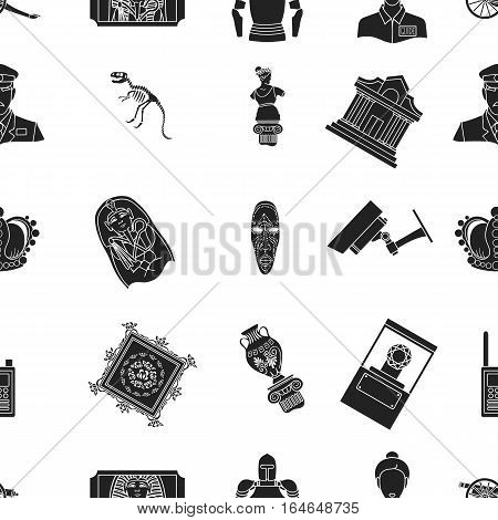 Museum pattern icons in black style. Big collection of museum vector symbol stock