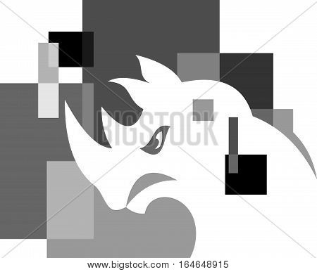 logo illustration animal rhino gray on abstract cube