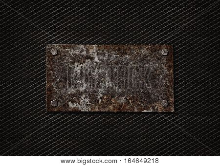 A rusty steel plate on a black metallic background