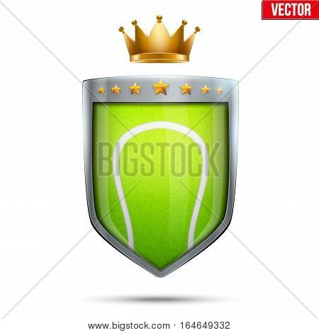 Tennis shield label with shield and ball and gold crown. Symbol of sport or club. Vector Illustration isolated on white background.