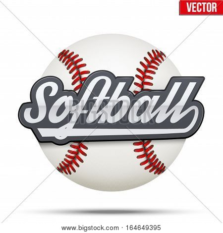 Softball Circle label. Ball and tag Isolated on white background. Sporting Symbol and mascot. Vector Illustration