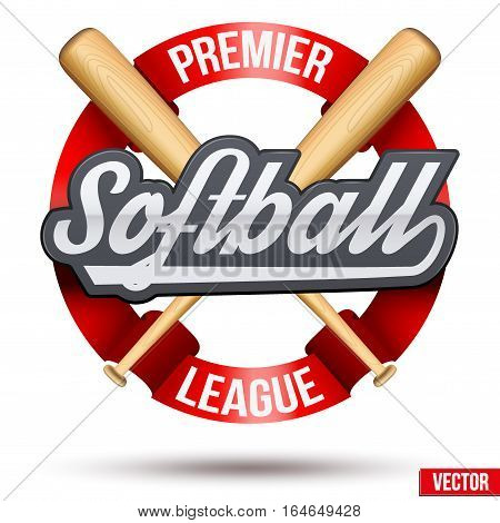 Softball Circle label. Ribbon and tag with wooden bats. Sporting Symbol and mascot. Vector Illustration Isolated on white background.