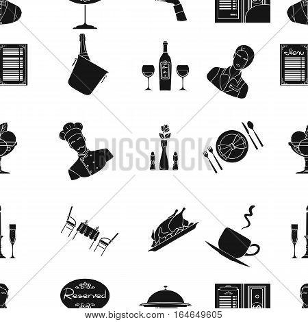 Restaurant pattern icons in black design. Big collection of restaurant vector symbol stock illustration