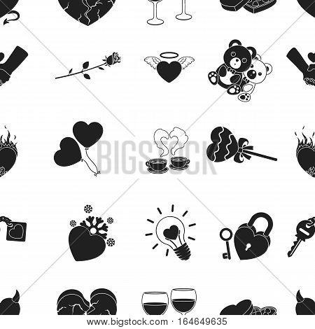 Romantic pattern icons in black style. Big collection of romantic vector symbol stock