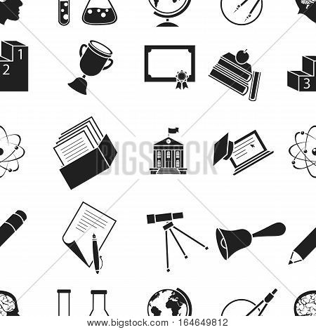 School pattern icons in black style. Big collection of school vector symbol stock