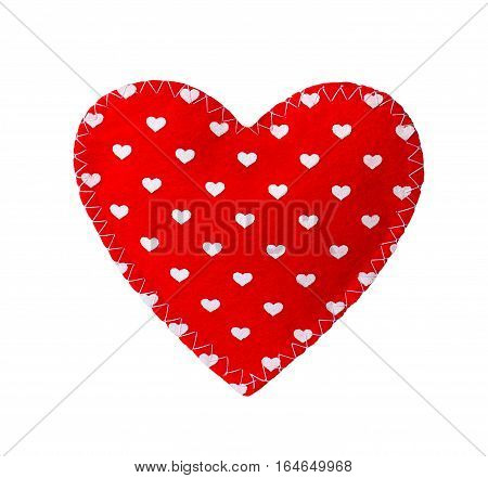 sewn heart isolated on white background. Valentine theme - red felt heart with. Valentine's day gift fabric heart. Decorative textile heart isolated on white