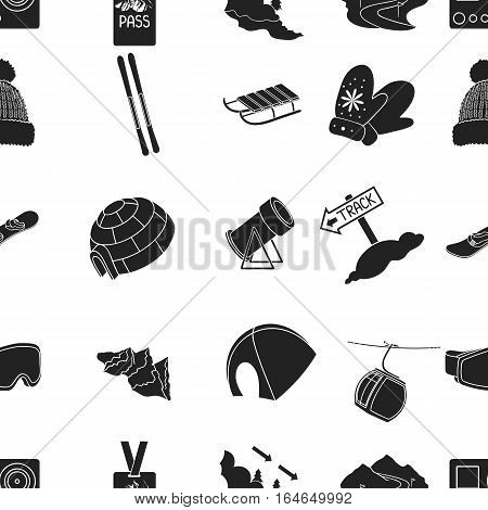 Ski resort pattern icons in black style. Big collection of ski resort vector symbol stock