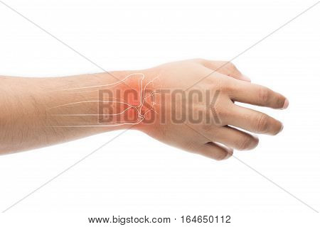 Man massaging painful wrist on a white background. Pain concept