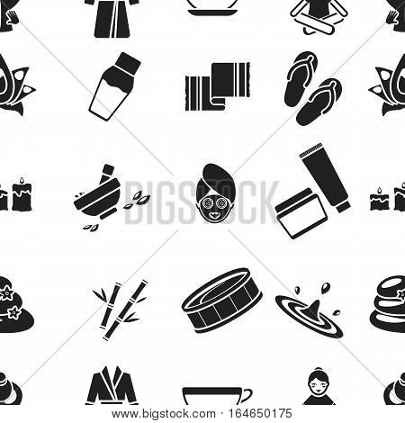 Spa pattern icons in black style. Big collection of spa vector symbol stock