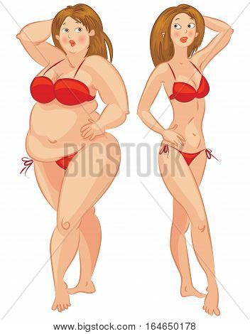 Fat and thin woman. Isolated on white background, vector illustration