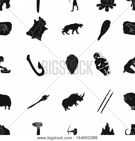 Stone age pattern icons in black design. Big collection of stone age vector symbol stock illustration