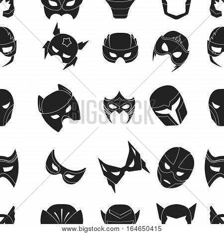 Superhero mask pattern icons in black style. Big collection of superhero mask vector symbol stock