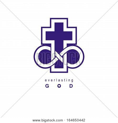 Everlasting God Vector Creative Symbol Design Combined With Infinity Endless Loop And Christian Cros
