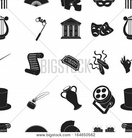 Theater pattern icons in black style. Big collection of theater vector symbol stock