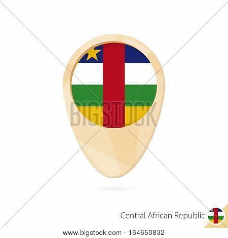 Map Pointer With Flag Of Central African Republic. Orange Abstract Map Icon.