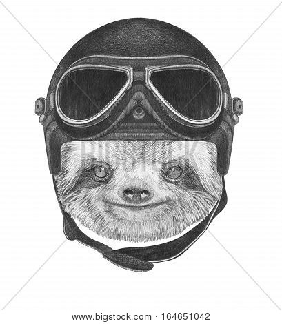 Portrait of Sloth with Vintage Helmet. Hand drawn illustration.