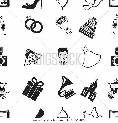 Weeding pattern icons in black style. Big collection of wedding vector symbol stock