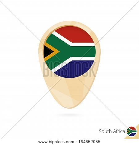 Map Pointer With Flag Of South Africa. Orange Abstract Map Icon.