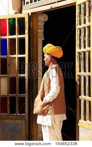 Jodhpur, India - February 11: An Unidentified Man Stands By The Doorway In Mehrangarh Fort On Februa