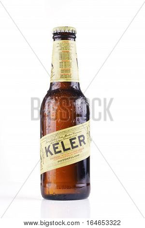 BILBAO SPAIN -JANUARY 10 2017. Bottle of Keler beer. Keler is a spanish beer brand produced by Damm following the original 1890 recipe created in Donostia Basque Country by Juan and Teodoro Kutz.