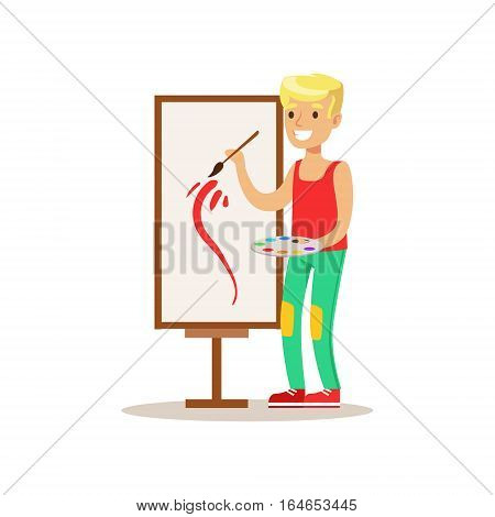 Boy Painting, Creative Child Practicing Arts In Art Class, Kids And Creativity Themed Illustration. Flat Cartoon Vector Character Demonstrating Creative Skills And Talents.