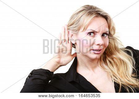 Blonde Woman Making Listening Gesture