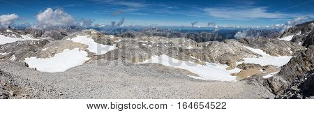 The panoramic view of mountain peaks of the Austrian Alps near Hochkönig