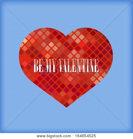 Be My Valentine Romantic Banner on Blue Background.