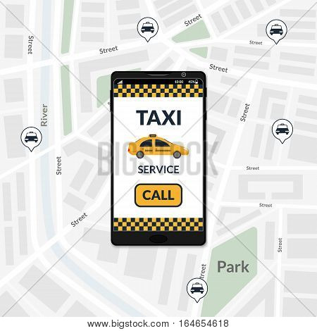 Vector illustration. Interface taxi service site with the call button on the mobile phone screen at the background of the city map with icons taxi.