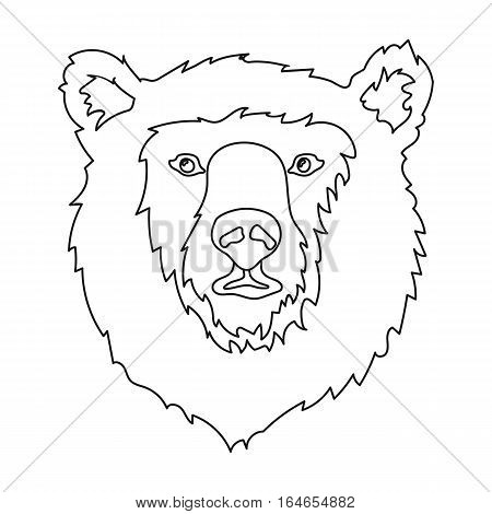 Brown bear muzzle icon in outline design isolated on white background. Russian country symbol stock vector illustration.