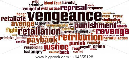 Vengeance word cloud concept. Vector illustration on white