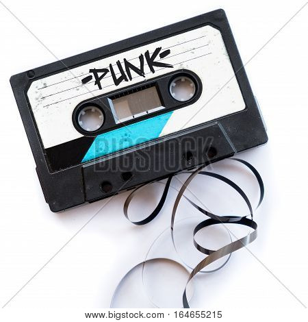 punk musical genres audio tape label text