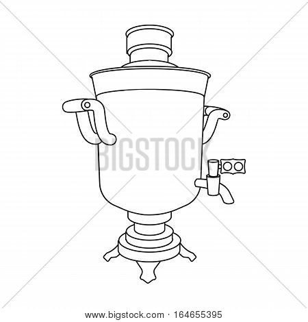 Samovar icon in outline design isolated on white background. Russian country symbol stock vector illustration.