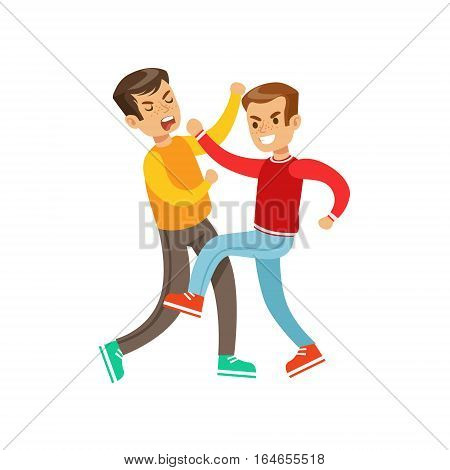 Two Boys Fist Fight Positions, Aggressive Bully In Long Sleeve Red Top Fighting Another Kid Who Is Fighting Back. Flat Vector Teenage Aggression And Conflict Resulting In Street Fight Illustration.