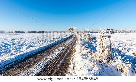 Rutted Road Covered By Ice Between Snowy Fields