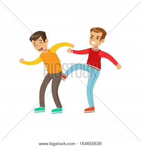 Two Boys Fist Fight Positions, Aggressive Bully In Long Sleeve Red Top Fighting Another Kid Kicking Him In Butt. Flat Vector Teenage Aggression And Conflict Resulting In Street Fight Illustration.