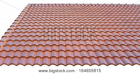 The roof is covered with tiles isolated on a white background