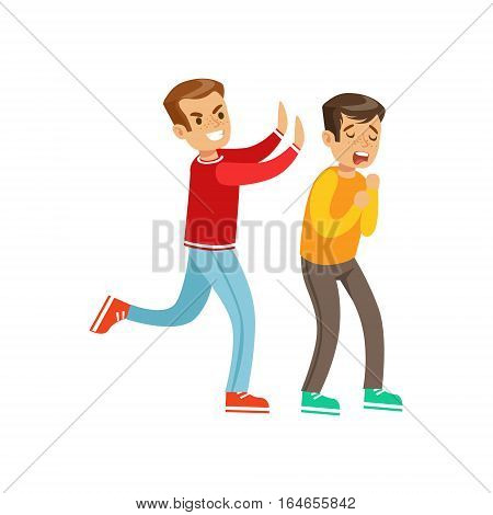 Two Boys Fist Fight Positions, Aggressive Bully In Long Sleeve Red Top Pushing Another Kid. Flat Vector Teenage Aggression And Conflict Resulting In Street Fight Illustration.