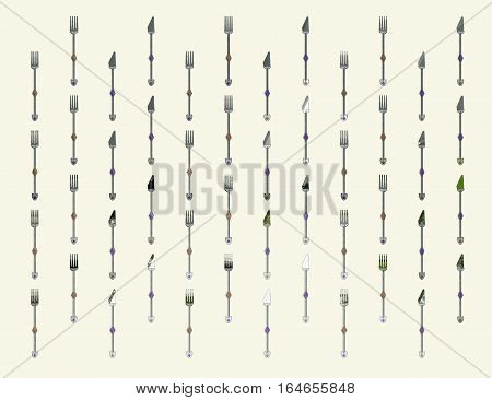 Wallpaper - Background of Original CAD Design of Knife and Folk featuring spiral handles and Gem stones