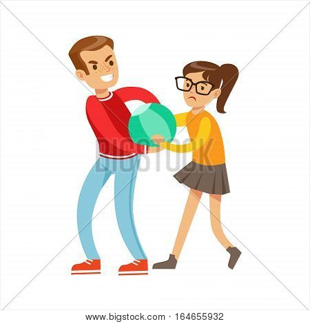 Boy And Girl Fist Fight Positions, Aggressive Bully In Long Sleeve Red Top Fighting Another Kid Taking Away A Ball. Flat Vector Teenage Aggression And Conflict Resulting In Street Fight Illustration.