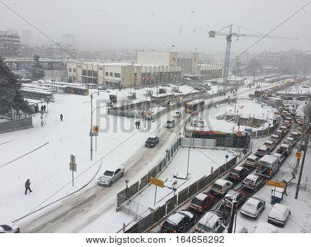 Thessaloniki, Greece - January 10 2017 snowfall traffic jam at Monastiriou street. Heavy snowfall caused severe traffic jam at the city. Photo taken at the train station area.