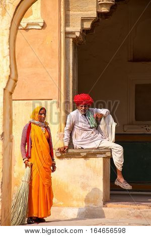Amber, India - November 13: Unidentified People Rest In The Fourth Courtyard Of Amber Fort On Novemb