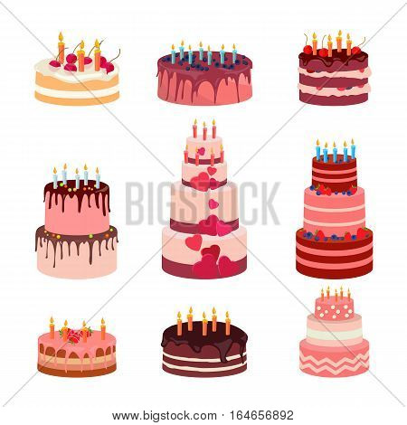 Sweet baked isolated cakes set. Strawberry icing cake for holiday, cupcake, baked brown chocolate cake for gourmet, colorful birthday celebration cherry cake bakery. Birthday cake with candles and fruits on white background. Graphic illustration