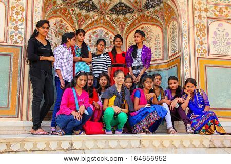 Amber, India - November 13: Unidentified Women Sit At Ganesh Pol In Amber Fort On November 13, 2014