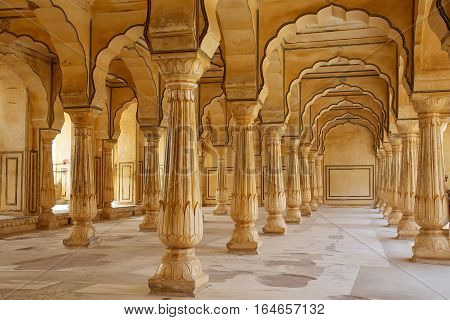 Amber, India - November 13: Sattais Katcheri Hall In Amber Fort On November 13, 2014 In Amber, India