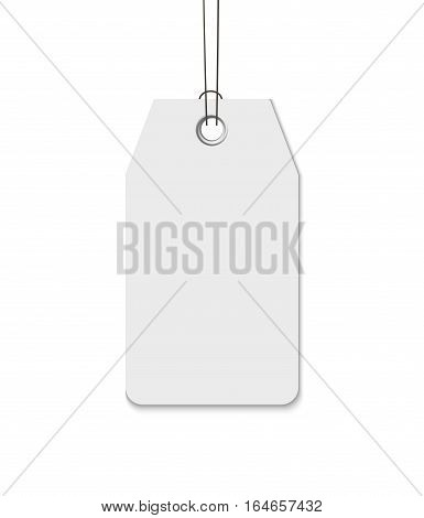Blank tag with string isolated on white background. Yemplate for price tag, gift tag, address label