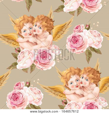 Valentines day vector seamless background with high detailed vintage roses and cute embracing cupids