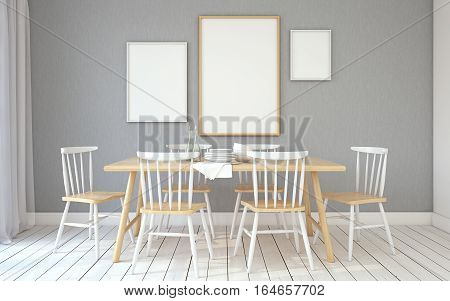 Interior of dining-room interior in scandinavian style.Frame mockup. 3d render.