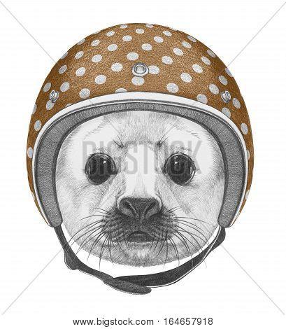 Portrait of Baby Fur Seal with Helmet. Hand drawn illustration.